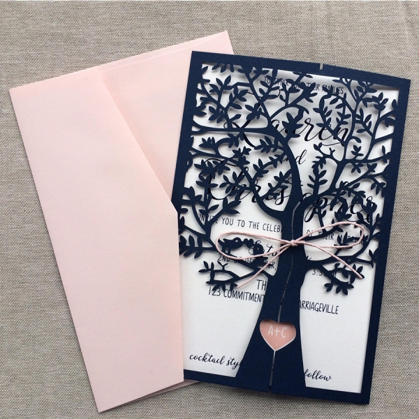 Navy Blue and Pink Fresh Tree Spring Laser Cut  Wedding Invitations, Elegant Wedding Invitations WLC013
