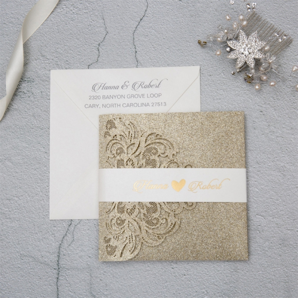 Luxury Champagne Gold Glitter Wedding Invitations, White Belly Band with Foil, Tri-Fold Laser Cut Pocket, Elegant Wedding Invitations WLC041