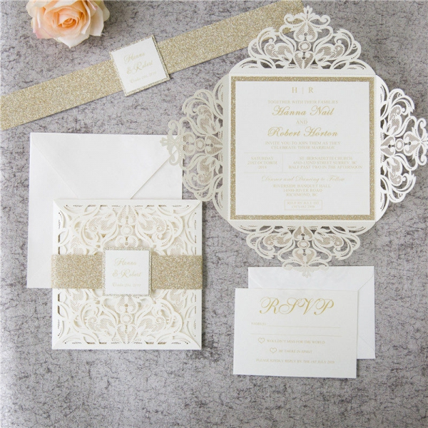 Romantic White Ivory Laser Cut  Wedding Invitations with Gold Glitter Belly Band, Spring Wedding Invitations, Free Envelopes WLC042