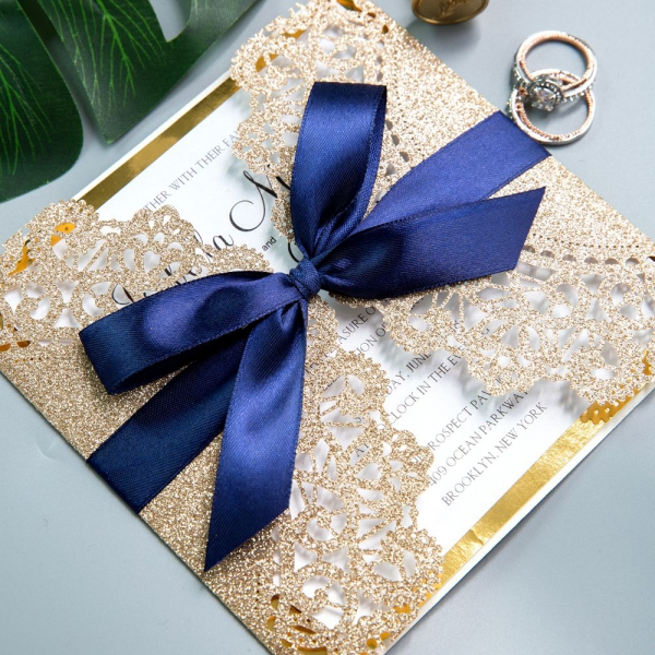 Luxury Rose Gold Laser Cut Wedding Invitations with Navy Blue Glitter Ribbon Bow and Gold Mirror Paper Backer, Fall Weddings, Vintage Wedding Invitations WS003