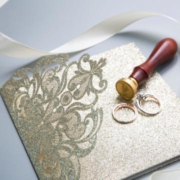 Elegant Gold Shimmer Glittery Pocket Laser Cut Wedding Invitations WS013