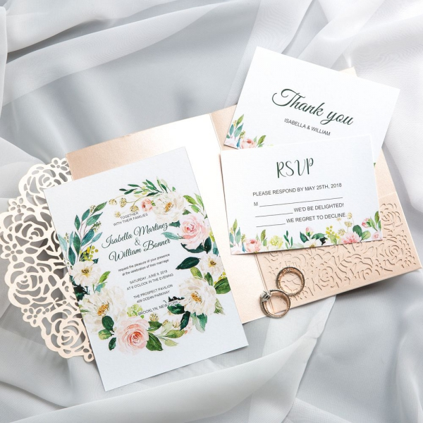 Spring Laser Cut Wedding Invitations, Blush and Greenery Watercolor Flowers, Rose Gold Wedding Invitations, Elegant Wedding Invitations WS027