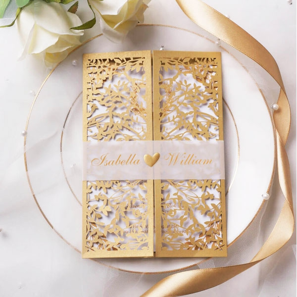 Elegant gold laser cut wedding invitations, vellum belly band, foil, monogram, royal, spring, fall, winter WS114