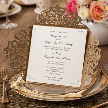 Classic Champagne Gold Glitter Laser Cut Wedding Invitations, Rustic Wedding Invitation, Fall Weddings, Wedding Invitations Cheap WLC001