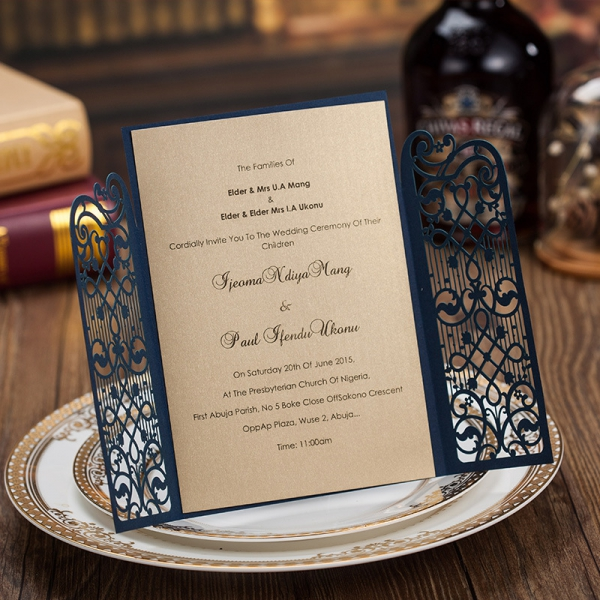 Cheap Navy Gate Laser Cut Wedding Invitations Rustic And