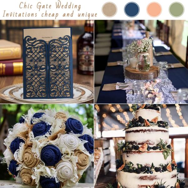 Winter Wedding Invitations Cheap: Cheap Navy Gate Laser Cut Wedding Invitations, Rustic And