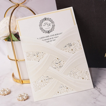 Cheap Laser Cut  Wedding Invitations Pocket, Elegant Wedding Invites White Ivory,  Spring Wedding Invitation, Rustic Cheap Wedding Invitations WLC003