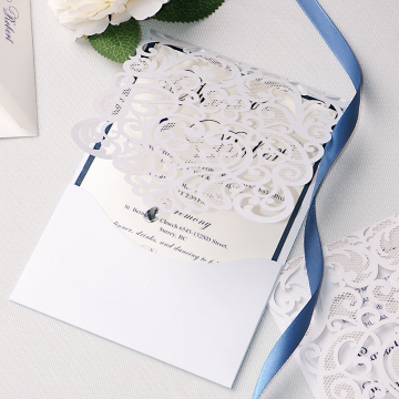 White and navy simple cheap wedding invite, laser cut invite, spring, fall WLC005