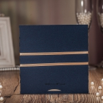 Elegant Navy Blue Laser Cut Wedding Invitations With Ribbon WLC006