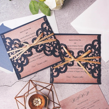 Cheap Navy Laser Cut Wedding Invitations With Gold Ribbon, Rustic Wedding Invitations, Fall Weddings, Country Weddings WLC006