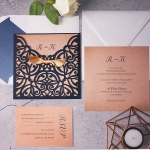 Navy Blue Laser Cut Wedding Invitations with Gold Glitter Ribbon, Fall or Winter Wedding Invitation, Midnight Blue, Rustic Weddings WLC008