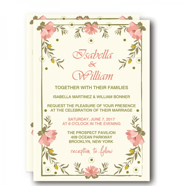 Simple Cheap Wedding Invitations With Flowers, Rustic And
