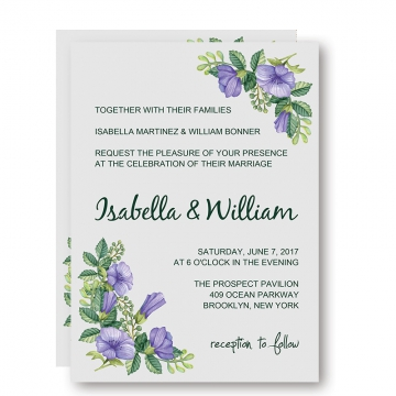 Elegant Shade of Purple Floral Spring Wedding Invitation, Summer Wedding Invitations, Garden Weddings WIP003