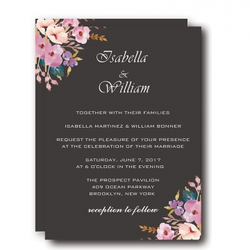 Vintage Black Wedding Invitations, Blush Flowers, BOHO Watercolor Floral Pattern, Cheap Wedding Invitations, Winter Weddings, Save the Date WIP004
