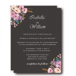 Elegant Black and Flower Winter Wedding Invitation WIP004