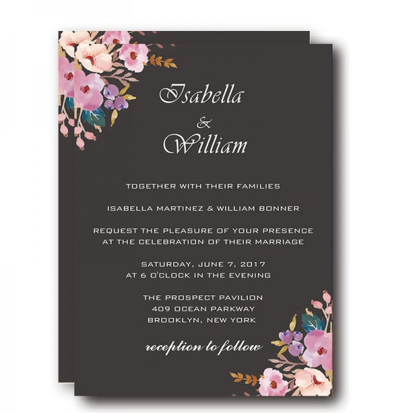Vintage Black Wedding Invitations Blush Flowers Boho Watercolor