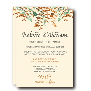 Fall Wedding Invitations, Yellow Tree Leaves and Greenery,  Cheap Wedding Invitations, Save the Date, Thank You Cards WIP005