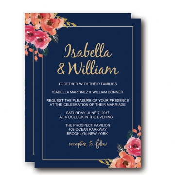 Navy Blue Floral Wedding Invitations, Elegant Wedding Invitations, Blush and Pink Flowers, BOHO Watercolor Pattern, Cheap Wedding Invitations, Spring Weddings, Fall Weddings, Winter Weddings  WIP006