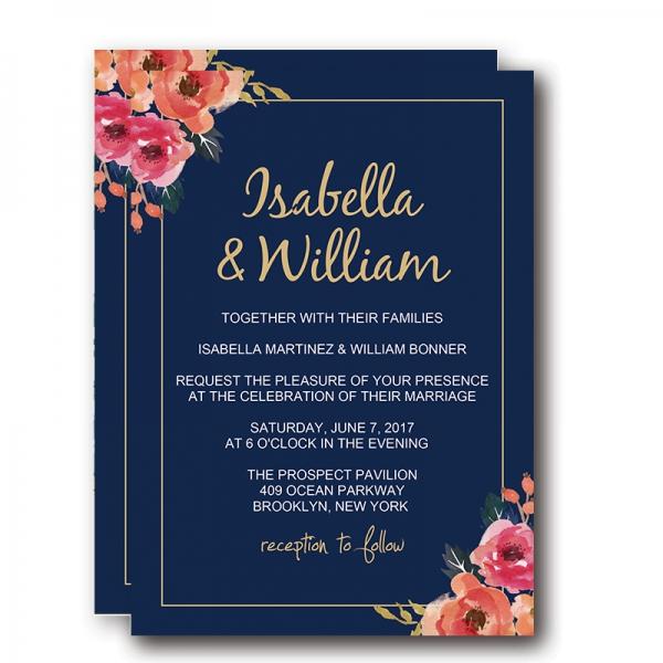 Floral Wedding Invitations.Navy Blue Floral Wedding Invitations Elegant Wedding Invitations
