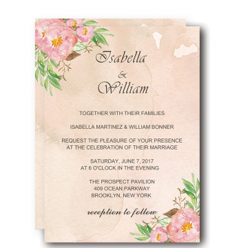 Elegant blush wedding invitations cheap, pink watercolor floral with greenery, spring weddings, rustic weddings, country weddings, hand painted, diy WIP011