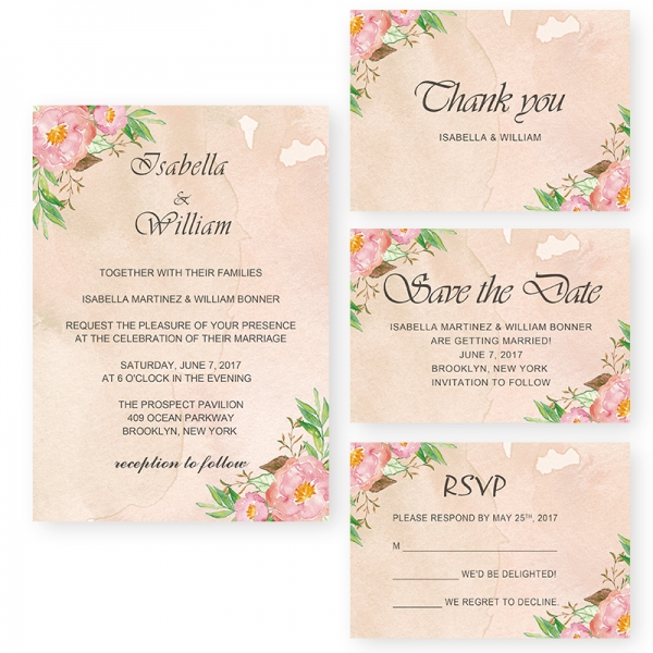 Elegant Blush Wedding Invitations Cheap Pink Watercolor Floral With