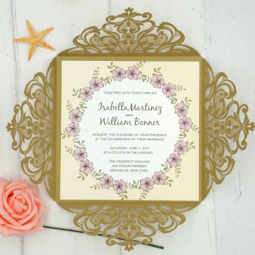 Chic Winter Gold Laser Cut Invitation WIP013