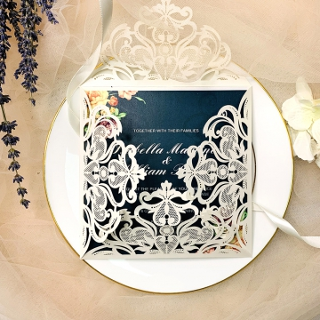 White Laser Cut Wedding Invitations, Navy Blue Wedding Invitations, Blush and Lavender Flowers, Watercolor, Country, Garden Roses, Hydrangeas,  Greenery, Elegant Wedding Invitations Cheap, Spring Weddings, Fall Weddings, Winter Weddings WIP020