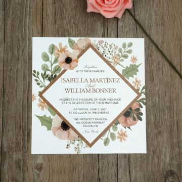 Cheap Print Vintage Wedding Invitation WIP024