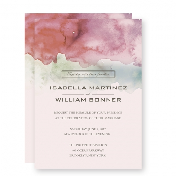Pink ombre watercolor wedding invitations, spring weddings, summer weddings, beach weddings, cheap wedding invitations, vintage weddings  WIP028