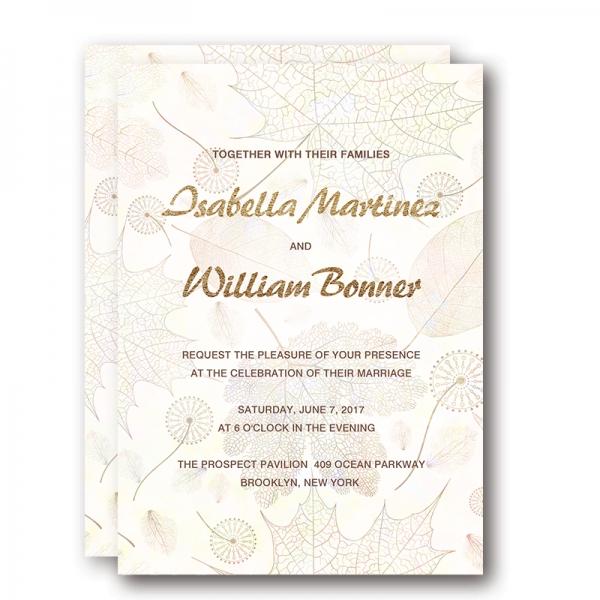 Gold Foil Wedding Invitations Rustic Fall Wedding Invitations
