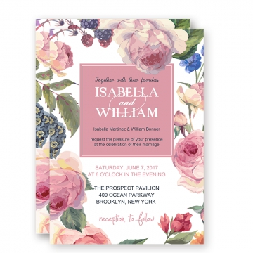 Inexpensive Blush Pink Floral Spring Wedding Invitation WIP037