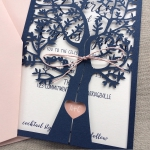 Navy Blue Fresh Tree Laser Cut Wedding Invitation WLC0013