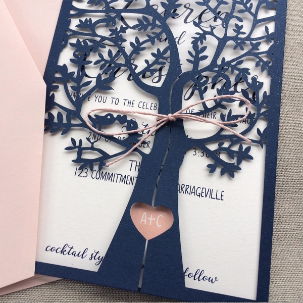 Navy Blue And Pink Fresh Tree Spring Laser Cut Wedding Invitations
