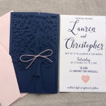 Navy Blue Fresh Tree Laser Cut Wedding Invitation WLC013