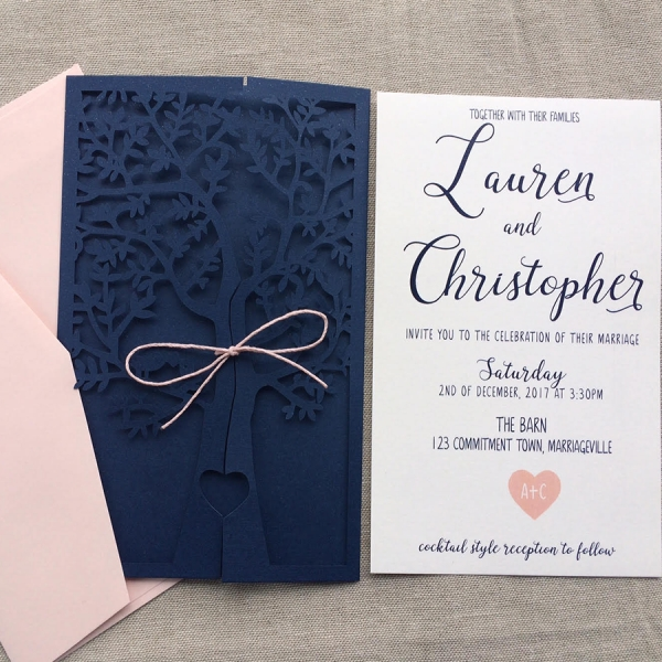 Navy Blue And Pink Fresh Tree Laser Cut Wedding Invitations Elegant Wedding Invitations Spring Summer Wlc