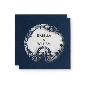 Cheap Romantic Navy Blue Laser Cut Wedding Invitation WLC014