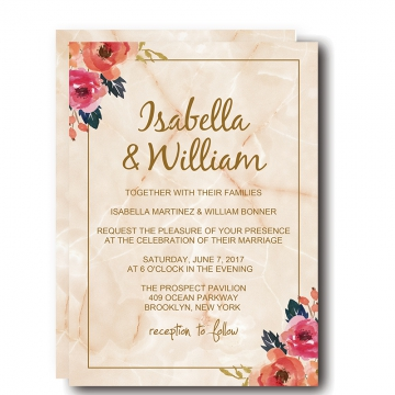 Elegant Marble Floral Wedding Invitation WIP039