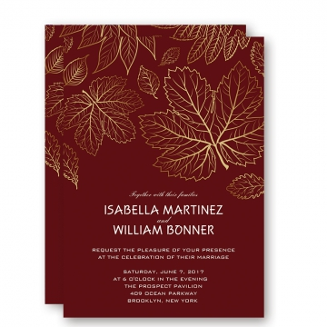 Christmas Cheap Gold Foil Leaves Fall Wedding Invitations, Winter Wedding Invitation, Burgundy Wedding Invitation, Thank You Cards, RSVP Cards, Save the Date, Bridal Shower Invitations WIP042