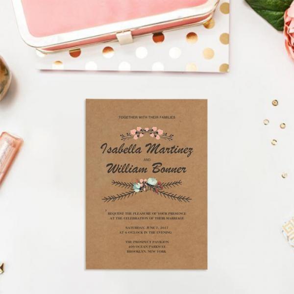Cheap Wedding Invitation Paper: Cheap Rustic Floral Fall Wedding Invitation WIP043