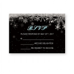 Christmas Winter Rustic White and Black Wedding Invitation WIP051