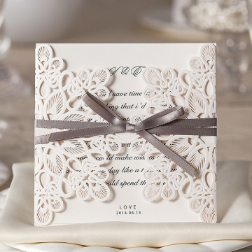 Ivory Laser Cut Wedding Invitations Elegant, Gray Ribbon, Spring Wedding Invitation WLC015