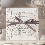 Ivory Laser Cut Cheap Wedding Invitation With Ribbon WLC015