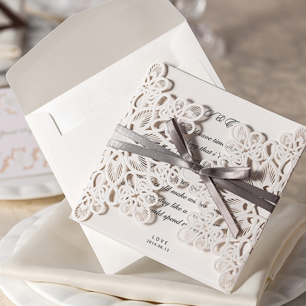 When Do I Send Out Wedding Invites: Ivory Laser Cut Wedding Invitations Elegant, Gray Ribbon