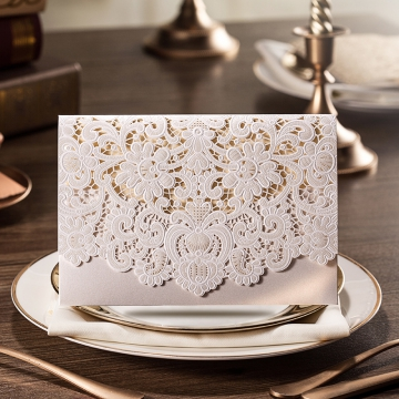 White Cheap Wedding Invitations Pocket, Elegant Laser Cut Wedding Invitations WLC016
