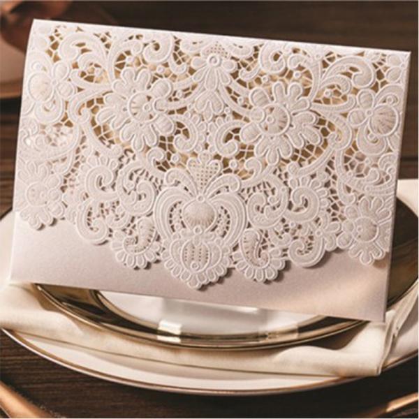 White Cheap Wedding Invitations Pocket Laser Cut Wedding
