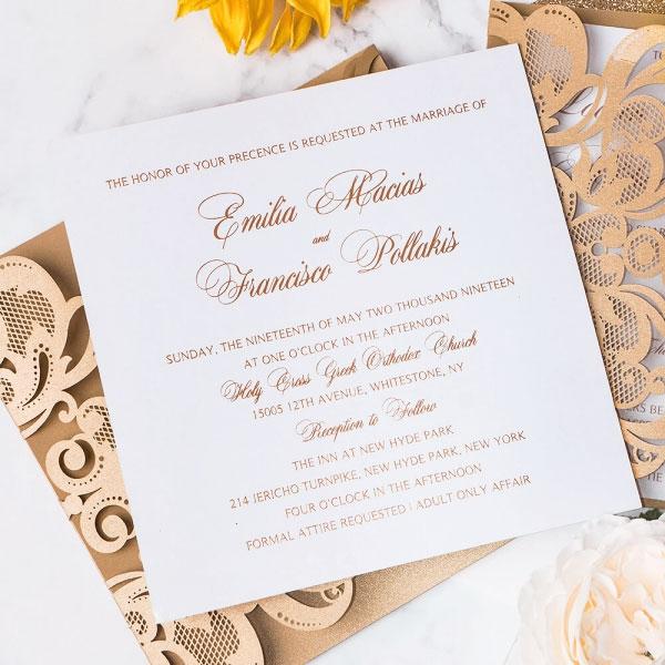 Winter Wedding Invitations Cheap: Laser Cut Wedding Invitations Cheap, Rustic Wedding