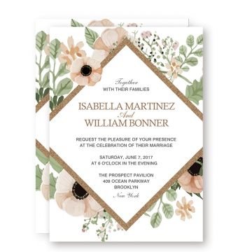 Rustic Greenery BOHO Floral Spring Wedding Invitations, Sage Green Blush Flowers, Gold Foil Geometric Pattern, Cheap Wedding Invitations, Thank You Cards, RSVP Cards, Save the Date WIP052