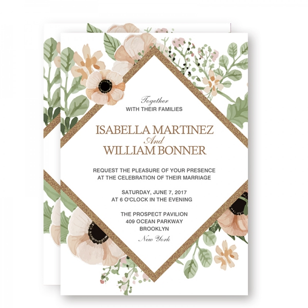 Rustic Greenery Boho Floral Spring Wedding Invitations Sage Green Blush Flowers Gold Foil Geometric Pattern Cheap Wedding Invitations Thank You