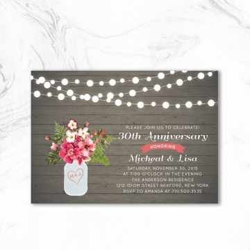 Cheap Rustic Chic Fall Wedding Anniversary Party Invitation WAI001
