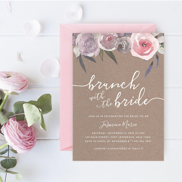 blush pink floral rustic fall bridal shower card bsc002